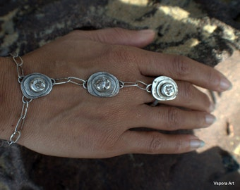 Pebbles of light II rustic sterling silver ring bracelet reclaimed silver handmade artisan jewelry