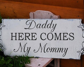 Here Comes The Bride - Wedding Sign 24X10 - Ring Bearer Sign- Wedding Signs- Single Sided Wedding Sign