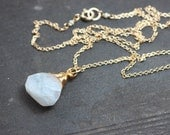 Moonstone Necklace Rustic Wire Wrapped Briolette Gold Pendant Necklace Moonstone Jewelry