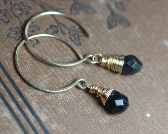 Black Tourmaline Earrings Wire Wrapped Faceted Briolette Black Earrings Gold Hoops Rustic Jewelry