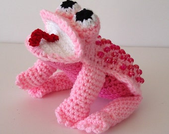 Pink Frog Toy Crochet with Shiny Dark Pink Beads Stuffed Toy Amigurumi