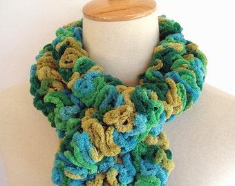 Green Aqua Turquoise Chenille Ruffle Fashion Scarf Knit Crochet by AllKindsofArt
