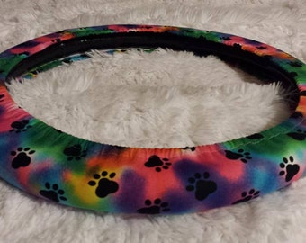 Royal Rainbow Tie Dye Puppy Paw Print * Steering Wheel Cover * Seat Belt Cover * Blue Pink Yellow Green