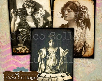 Printable, Gypsy Women, Collage Sheet, Printable Images, Digital Ephemera, Journaling Tags, Vintage Paper, Instant Download, Journal Spots