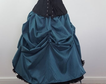 Deep Teal Knee Length Tie On Cabaret Bustle Skirt-One Size Fits All