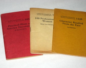 3 Vintage Blue Books - No. 705, 1448, 685 - Professions for Women, Character Reading, Interior Decoration