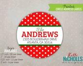 Red & Green Polka Dot Christmas Return Address Labels, Custom Holiday Sticker
