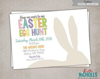 DIY Easter Egg Hunt Invitation, Rabbit Ears Silhouette Invite, Easter Bunny - Printable, Custom