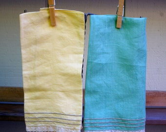 Vintage Linen Napkins Towels Pair