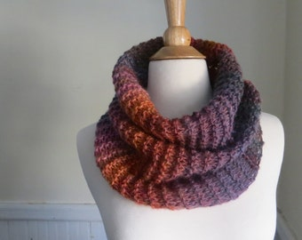 Relaxed Knit Cowl in Sunset Orange, Purple, Blue