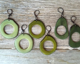 Hoop earrings shades of green You pick Color