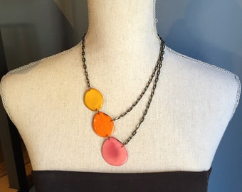Orange yellow pink asymmetrical necklace