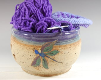 Large Dragonfly Yarn Bowl with Purple Grape and Bamboo Glaze, Knitting and Crochet