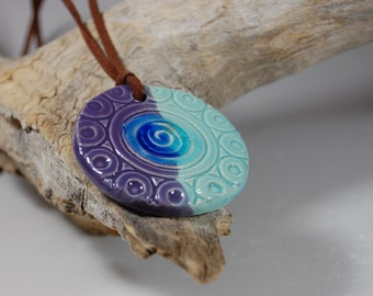 Glass Infused Pottery Pendant J01 Necklace