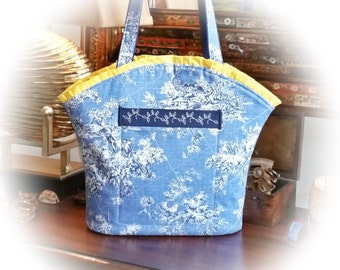 FREE Shipping USA Canada - J Castle Designs Boutique Bag - Blue French Toile Designer Fabric  - - (Ready to Ship)