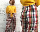 Valentine SALE vintage bellbottoms / wide leg pants plaid 1970s flares / palazzo pants