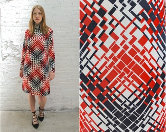 60s mod turtleneck mod dress / red and black geometric print long sleeve shift dress / minimalist sheath dress