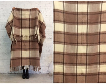 vintage large wool plaid blanket / fuzzy neutral tone blanket / made in New Zealand