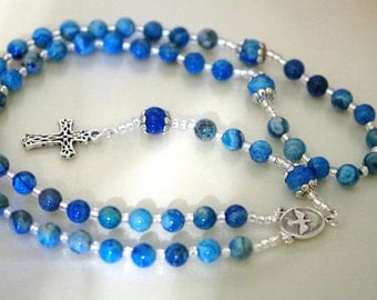 Gemstone Jewelry - Rosary - Crazy Lace Agate - Choose Your Cross and Medal