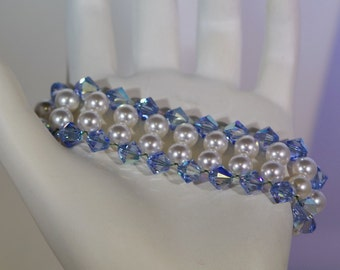 Swarovski Pearl & Crystal Jewelry - Bracelet - Bride, Bridesmaids, Maid of Honor, Flower Girls, Jr Bridesmaids - Any Colors -