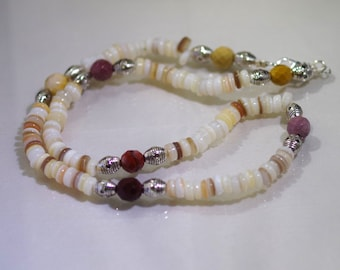 Pearl Shell Necklace with Faceted Kambaba Jasper