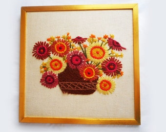 Vintage Crewel Picture Big Flowers Yellow Brown Dusty Rose Zinnias Daisies Gold Frame 12 X 12 Hand Embroidered Scarlett Finished Picture