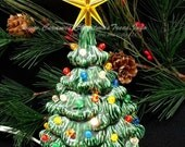Vintage Style Lighted Ceramic Christmas Tree 7 inches