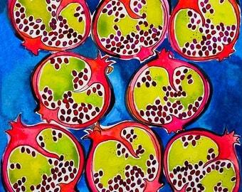 Watercolor Pomegranate Art Print, Wall Art, Home Decor, Fruit Print, Kitchen Art