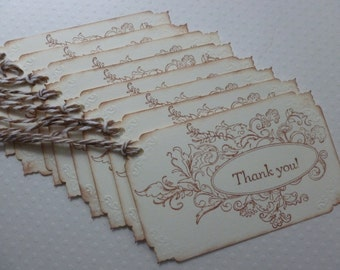 Thank you tags, hand stamped, vintage style, wedding or bridal shower, baby shower - set of 8