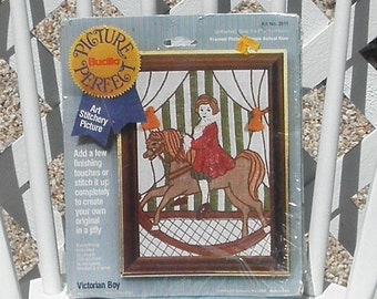 Victorian Boy on Rocking Horse Embroidery Kit Vintage Bucilla Picture Perfect