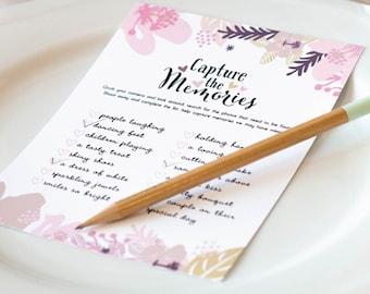 DIY Printable I Spy Wedding Cards, Instant Download, Reception Game, Modern Floral Design, 8 colors / DIY Digital Printable / W-I06-1PS ZZ6