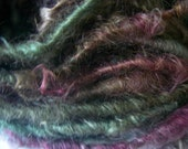 Handspun Curly Soft Bulky Mohair Textured Art Yarn in Deep Green, Burgundy and Brown by KnoxFarmFiber for Knitting Weaving Embellishment
