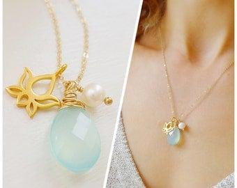 Lotus charm necklace, yoga inspired, yoga jewelry, om, zen, Aqua chalcedony, sea green, gold charm necklace, pearl, Otis b, gift for yogi