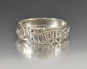 Antique Sterling Silver Wedding Band Ring, English Forever Wedding Ring, Victorian Ring, Antique Jewelry, Friendship Promise Eternity Ring