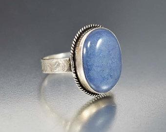 Vintage Blue Jadeite Ring, Embossed Sterling Silver Ring, Mid Century Ring, Gemstone Ring, Statement Ring, Boho Rings, Size 7.5