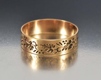 Victorian Antique Wedding Band Ring, 10K Rose Gold Ring, Wide Engraved Ring, Ivy Leaf Eternity Band, Antique Jewelry, Love Token Ring