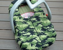Green Camo Baby Car Seat Cover, Winter Blanket with Zipper for Rear-facing Car Seat, by Sophie Marie
