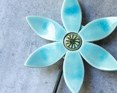aqua wall bloom with metal stem