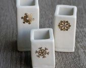 white and gold porcelain bud vase trio, free same day priority shipping