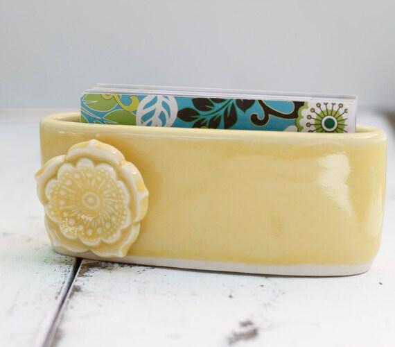 marigold card holder, porcelain