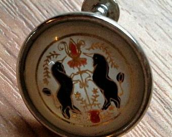 Vintage Intaglio Rearing Black Unicorns Coat of Arms Earrings