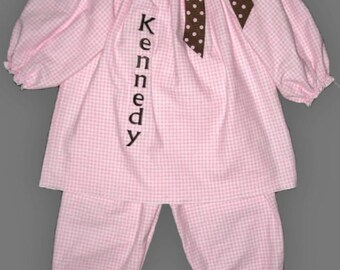 Monogrammed Peasant Dress and Pants Set Pink Checked Flannel with Brown Polka Dot Trim