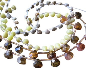 Gemstone Bead Lot, Volcano Quartz or Multi Quartz, Ocean Jasper, Olive Jade, 3 strands total, SKU 3273