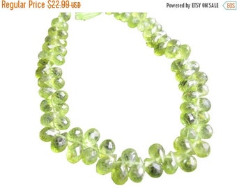 SALE Peridot Briolette Beads, Teardrops, Olive Green, Faceted, August Birthstone, SKU 409