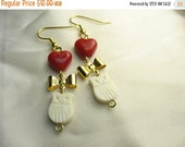 Owl love you forever ... new vintage stock white owl earrings with gold bows and red glass hearts