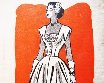 1950s Dress Pattern Anne Adams Misses size 12 Womens Flared Skirt Sundress with Jacket Vintage Sewing Patterns