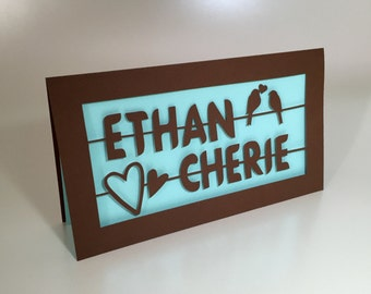 Custom Names Love Birds Paper-cut Card