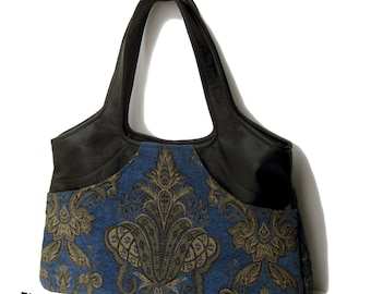 Black Leather and Midnight Blue Tapestry Purse