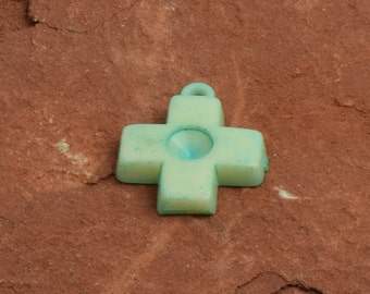 Cross plated mint patina with stone setting sold 6 each  9879MP