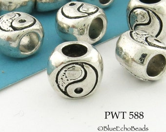 10mm Large Hole Yin Yang Pewter Bead, Tai Chi Beads (PWT 588)  10pcs BlueEchoBeads